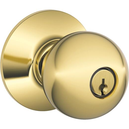 Schlage Orbit Bright Brass Entry Door Knob