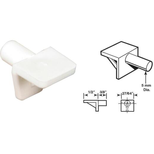Prime-Line 5mm White Plastic Mini Shelf Support (8 Count)