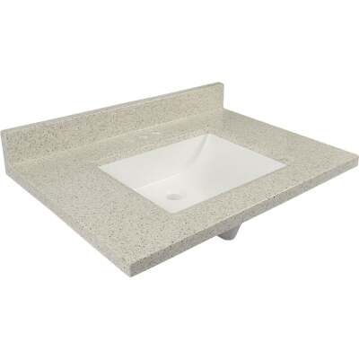 Modular Vanity Tops 31 In. W x 22 In. D Dune Cultured Marble Vanity Top with Rectangular Wave Bowl
