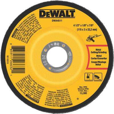 DeWalt HP Type 27 4-1/2 In. x 1/8 In. x 7/8 In. Metal/Stainless Grinding Cut-Off Wheel