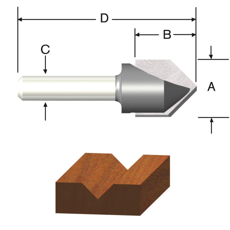 Vermont American Carbide Tip 90 Degree V-Groove Bit Image 1