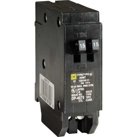 Square D Homeline 15A/15A Twin Single-Pole Standard Trip Tandem Circuit Breaker