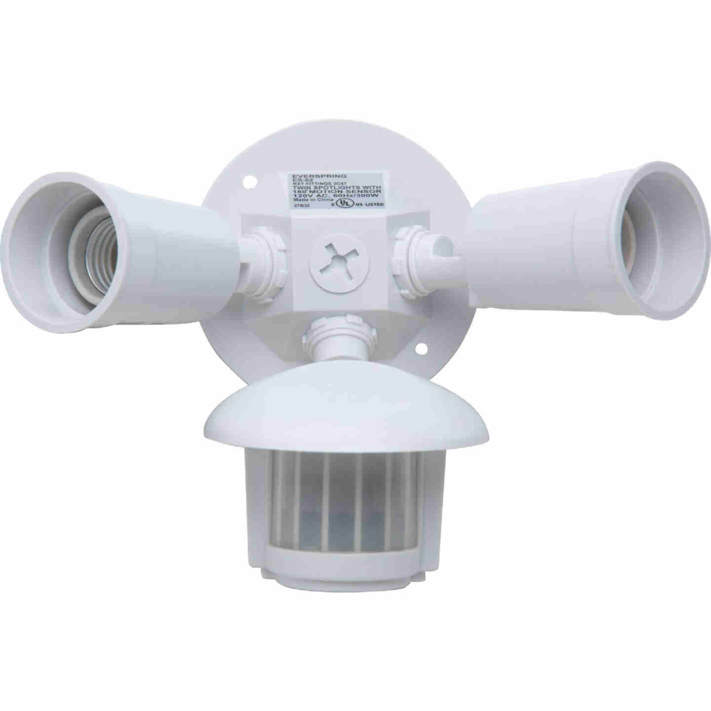 White Motion Sensing Dusk To Dawn Incandescent Floodlight Fixture Image 3