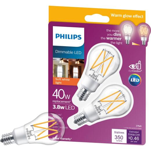 Philips Warm Glow 40W Equivalent Soft White A15 E17 Base Dimmable LED Light Bulb (2-Pack)