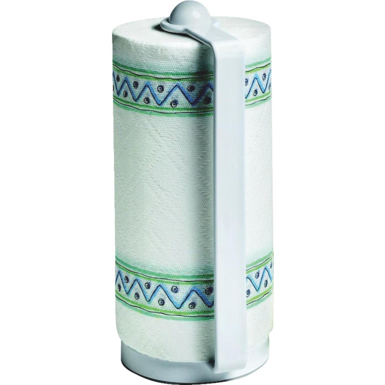 Spectrum White Portable Plastic Paper Towel Holder Image 1