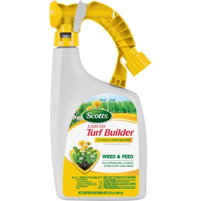Scotts Turf Builder 32 Oz. Liquid 6000 Sq. Ft. 25-0-2 Lawn Fertilizer with Plus 2 Weed Killer
