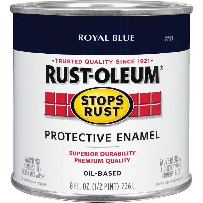 Rust-Oleum Stops Rust Oil Based Gloss Protective Rust Control Enamel, Royal Blue, 1/2 Pt.