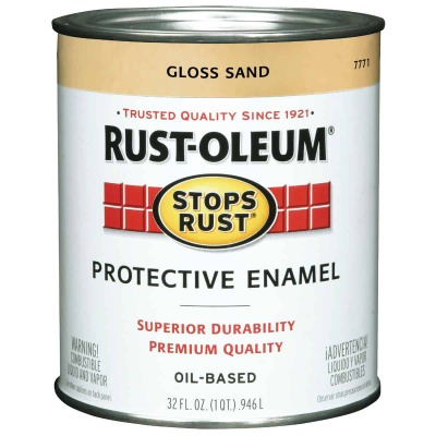 Rust-Oleum Stops Rust Oil Based Gloss Protective Rust Control Enamel, Sand, 1 Qt.