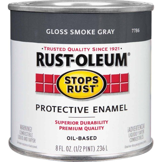 Rust-Oleum Stops Rust Oil Based Gloss Protective Rust Control Enamel, Smoke Gray, 1/2 Pt.