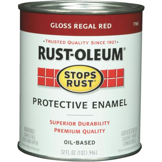 Rust-Oleum Stops Rust Oil Based Gloss Protective Rust Control Enamel, Regal Red, 1 Qt.