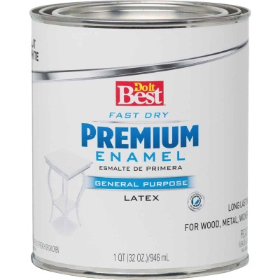 Do it Best Fast Dry Acrylic Latex Flat Premium Enamel, White, 1 Qt.
