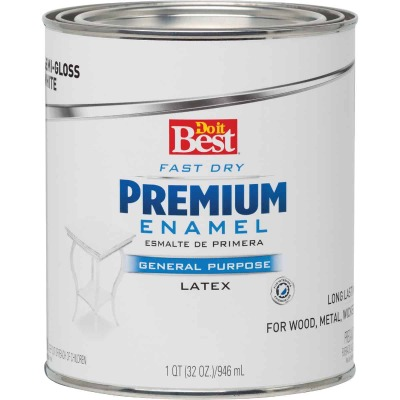 Do it Best Fast Dry Acrylic Latex Semi-Gloss Premium Enamel, White, 1 Qt.