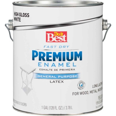 Do it Best Fast Dry Acrylic Latex Gloss Premium Enamel, White, 1 Gal.