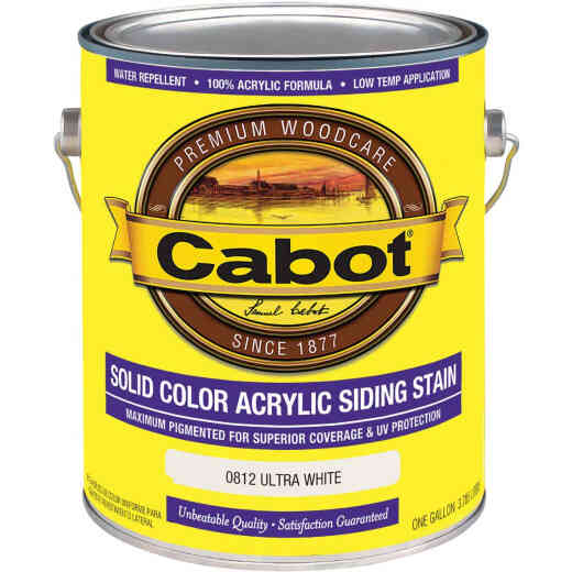 Cabot Solid Color Acrylic Siding Exterior Stain, Ultra White, 1 Gal.