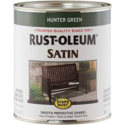Rust-Oleum Stops Rust Oil Based Satin Protective Rust Control Enamel, Hunter Green, 1 Qt.