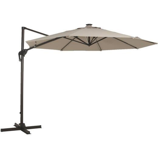 Outdoor Expressions 10 Ft. Offset Cream Patio Umbrella with Solar LED Light