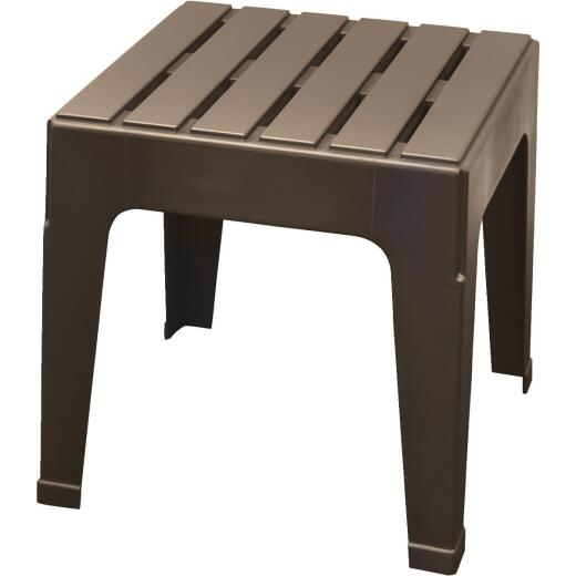 Adams Big Easy Earth Brown 18.9 In. Square Resin Stackable Side Table